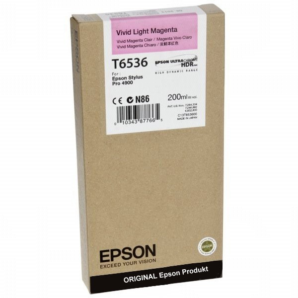 T6536LM - C13T653600 - Epson Original Light Magenta Tintenpatrone - Inhalt: 200 ml
