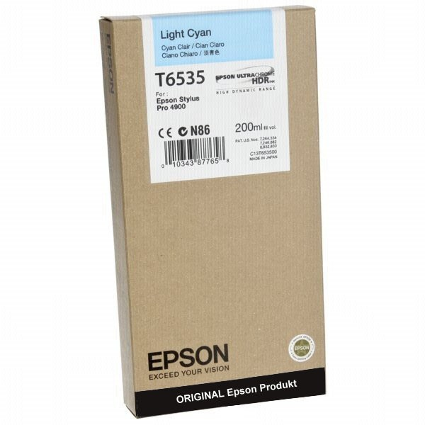 T6535LC - C13T653500 - Epson Original Light Cyan Tintenpatrone 200ml