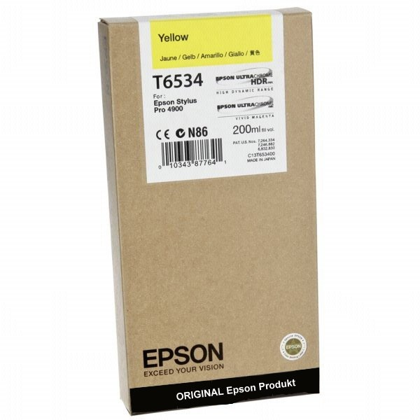 T6534Y - C13T653400 - Epson Original Yellow Tintenpatrone - Inhalt: 200 ml