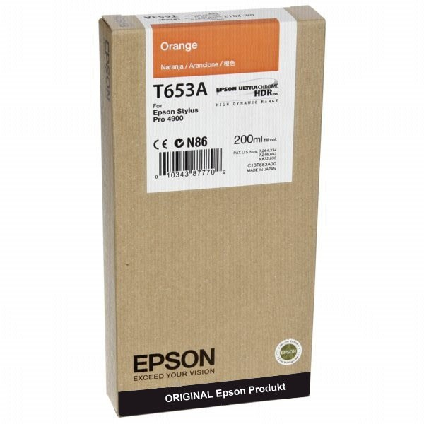 T653AO - C13T653A00 - Epson Original Orange Tintenpatrone - Inhalt: 200 ml