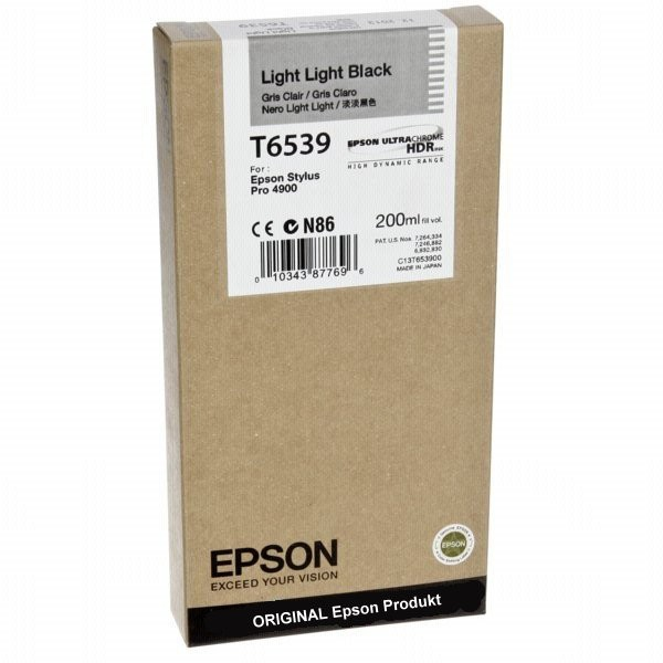 T6539LBK - C13T653900 - Epson Original Light Black Tintenpatrone - Inhalt: 200 ml